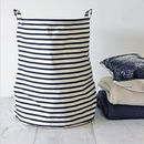 Nautical Striped Handled Laundry Basket / Bag