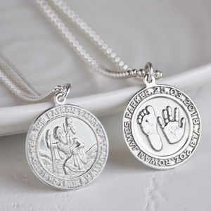 Silver Handprint And Footprint St Christopher Necklace - necklaces