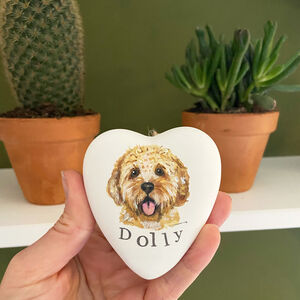Hand Painted Personalised Heart Ceramic Pet Bauble