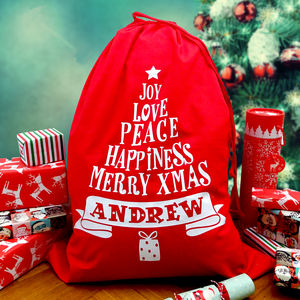 Large Christmas Sack Personalised Tree Design - stockings & sacks