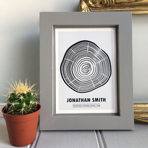 Personalised 'Tree Rings' Framed Birthday Print - 50th birthday gifts