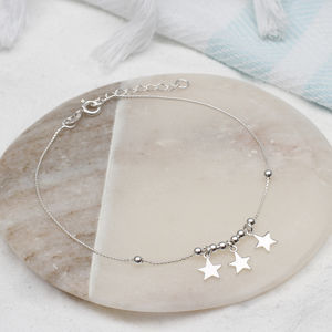 Personalised Silver Star, Heart Or Bell Anklet