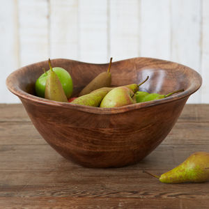 Natural Wooden Fruit Bowl - bowls