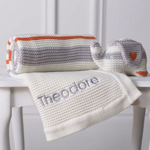 Personalised Organic Blanket And Soft Toy Gift Set - more