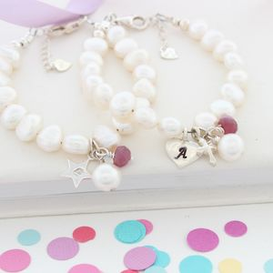 Pearl And Birthstone Christening Bracelet - baby & child