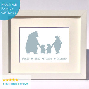 Personalised Bear Family Print Gift