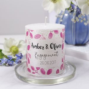 Engagement Personalised Patterned Candle - engagement gifts