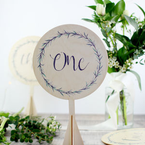 Botanical Wedding Table Number, Wood - table numbers