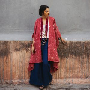 Pure Silk Hand Embroidered Robe Wrap
