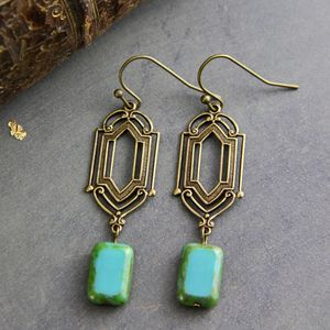 Art Deco Bronze Turquoise Earrings