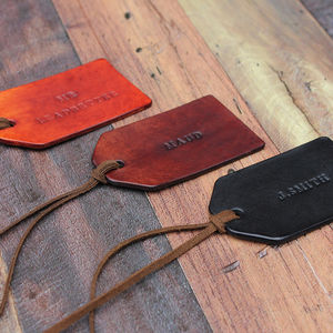 Personalised Leather Tag - ribbon & wrap