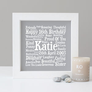 Birthday Personalised 16th Word Art Gift