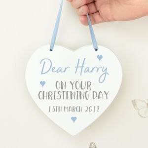 Christening Wish White Wooden Hanging Heart - baby & child