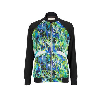Green Silk And Mesh Crane Print Bomber