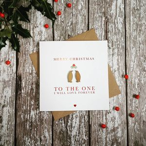 Red Foil Mistletoe Penguin Love Wooden Christmas Card
