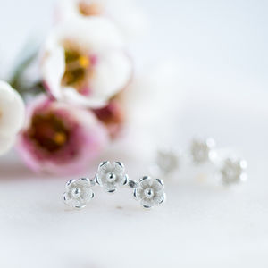 Wild Flower Sterling Silver Stud Earrings