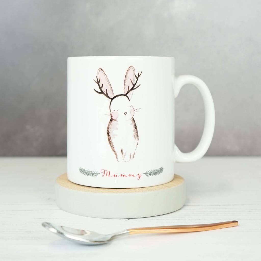 Personalised Winter Rabbit Christmas Mug