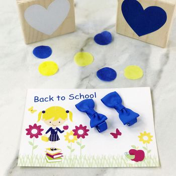 School Card And Pair Of Mini Hair Bow Clips Set