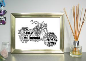 Motorbike Personalised Word Art Print