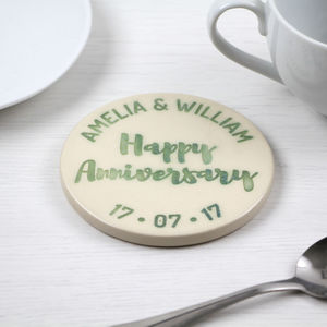 Personalised 'Happy Anniversary' Stoneware Coaster