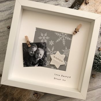 Christmas Personalised Ceramic Token Daddy Photo Frame