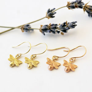 Dainty Gold Bee Earrings