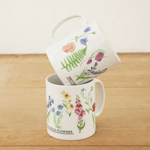 British Wild Flowers Illustration Mug