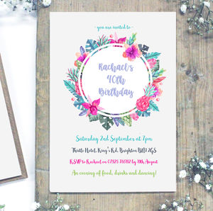 Personalised Watercolour Milestone Birthday Invitations - adults party invitations