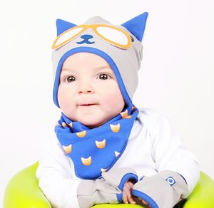 Boy's Kitty Cat Hat, Bib And Gloves Gift Set - babies' hats
