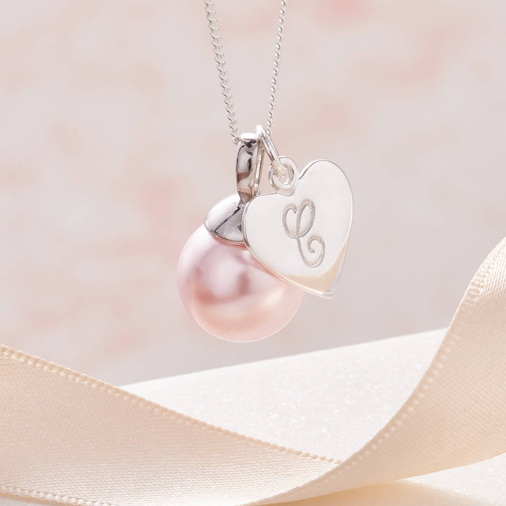 Pearl pendant necklace in silver with initial by claudette worters pearl pendant necklace in silver with initial soft blush pink pearl aloadofball