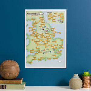 Personalised Scratch Off 92 Football Grounds Print - prints & art sale
