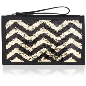 Sequin And Leather Clutch Bag - winter sale
