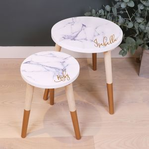 Personalised Marble Wooden Side Table - side tables