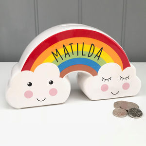 Children's Personalised Rainbow Money Box - storage & organisers