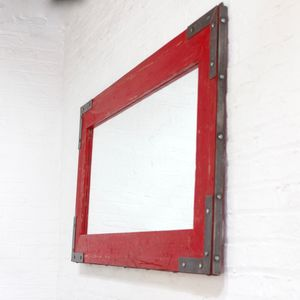 Lourdes Bespoke Industrial Red Reclaimed Mirror - mirrors