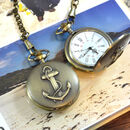 Personalised Bronze Pocket Watch Anchor Design