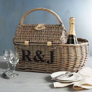 Personalised Boat Hamper Picnic Basket - for a special valentine's night in