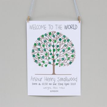 'Welcome To The World' Baby Fingerprint Tree