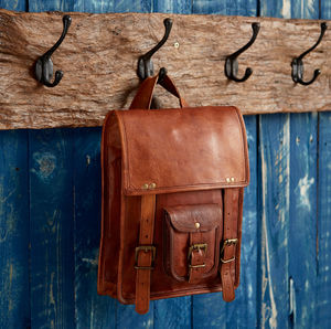 Large Brown Leather Satchel Style Rucksack - bags & purses