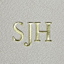 Gold foil embossed initials
