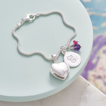 Birthstone Bracelet With Tiny Heart Locket - Amethyst and Pink Tourmaline Birthstones