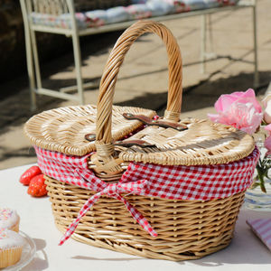 Personalised Country Style Checkered Picnic Hamper - outdoor living