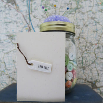 'Good Luck' Porcelain Tag Card