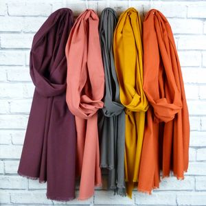 Oversized Frayed Cotton Scarf - scarves