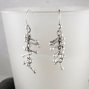Barbells Silver Earrings