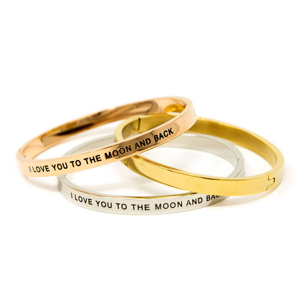 Hinged Moon And Back Message Bangle