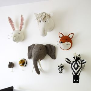 Decorative Felt Animal Heads For Childrens Bedrooms