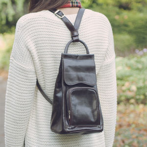 Italian Leather Backpack Handbag. 'The Carli'