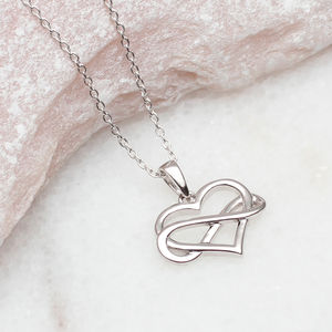 Personalised Sterling Silver Infinity Heart Necklace