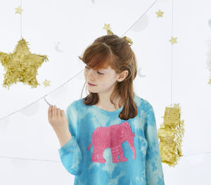 Cool Tie Dye Elephant Sequin Top - t-shirts & tops